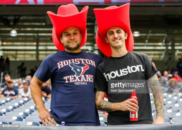 Houston Texans fans don cowboy hats during the football game between the Indianapolis Colts and Houston Texans at NRG Stadium on November 5 2017 in...
