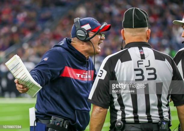 Houston Texans head coach Bill O'Brien challenges referee Pete Morelli after Houston Texans wide receiver DeAndre Carter took a hit by Jacksonville...