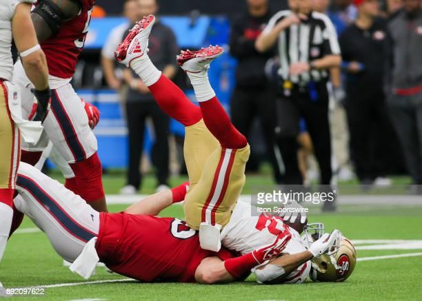 Houston Texans inside linebacker Brian Cushing tackles San Francisco 49ers running back Matt Breida during the NFL game between the San Francisco...