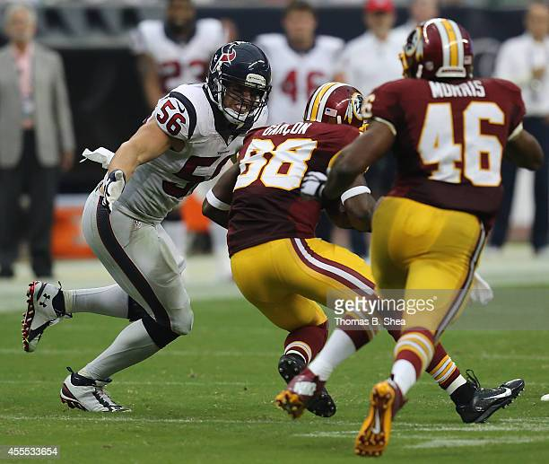 Houston Texans linebacker Brian Cushing gets set to tackle Washington Redskins wide receiver Pierre Garcon on September 7 2014 at NRG Stadium in...