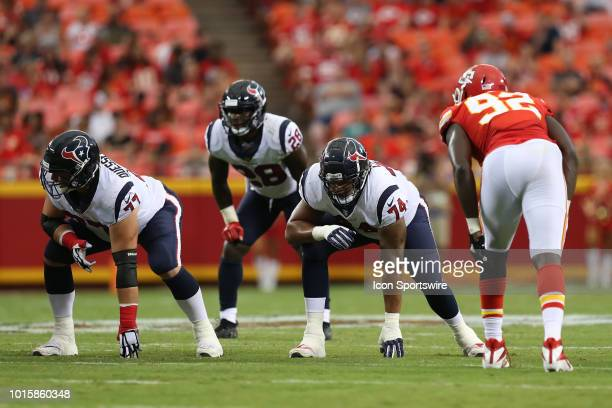 Houston Texans offensive tackle Kendall Lamm and Houston Texans offensive guard David Quessenberry at the line before the snap in the first quarter...