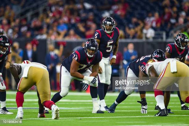 Houston Texans offensive tackle Kendall Lamm gets set during the NFL preseason game between the San Francisco 49ers and the Houston Texans on August...