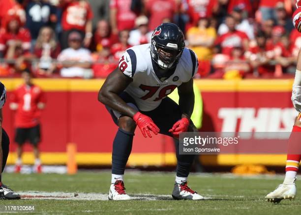 Houston Texans offensive tackle Laremy Tunsil before the snap in the second quarter of an NFL matchup between the Houston Texans and Kansas City...