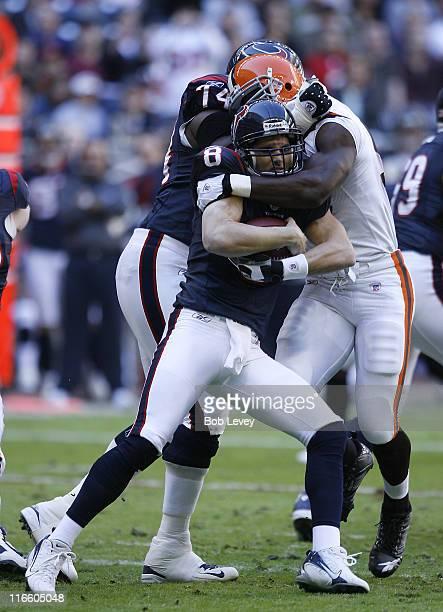 Houston Texans quarterback David Carr gets sacked in the fist quarter The Houston Texans defeated the Cleveland Browns 146 Dec 31 2006 at Reliant...
