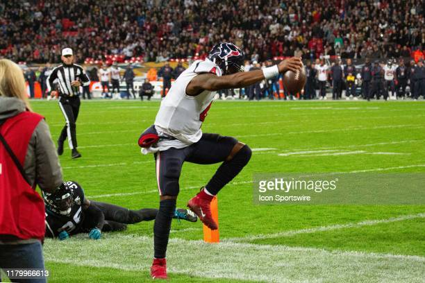 Houston Texans Quarterback Deshaun Watson lands just wide of a touchdown during the NFL game between the Houston Texans and the Jacksonville Jaguars...