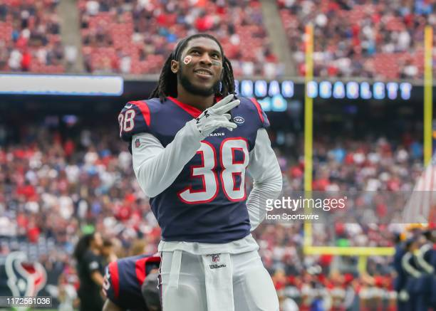 Houston Texans running back Buddy Howell says a prayer during the football game between the Carolina Panthers and Houston Texans at NRG Stadium on...