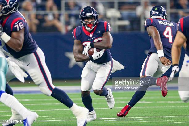 Houston Texans running back Lamar Miller runs with the ball and is injured during the preseason game between the Houston Texans and Dallas Cowboys on...