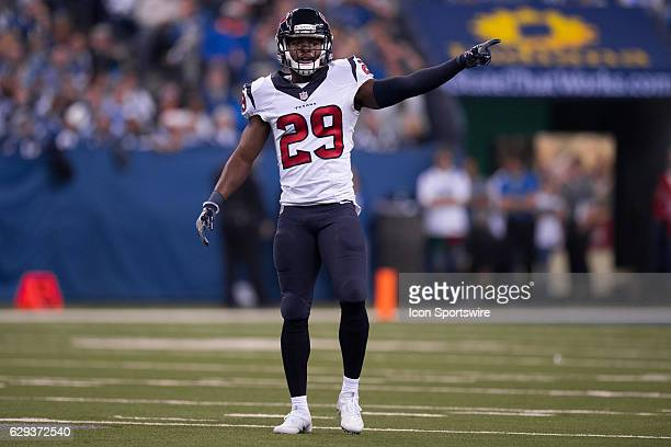 Houston Texans safety Andre Hal points to a teammate during the NFL game between the Houston Texans and Indianapolis Colts on December 11 at Lucas...