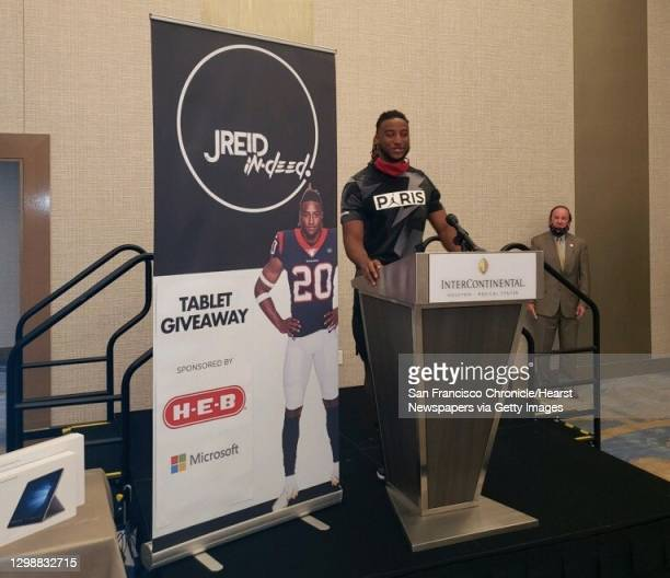 Houston Texans safety Justin Reid at a press conference at Houston's Intercontinental Hotel on Monday, July 13, 2020.
