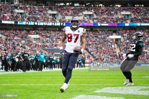 Houston Texans Tight End Darren Fells runs into the end zone for a touchdown during the NFL game between the Houston Texans and the Jacksonville...
