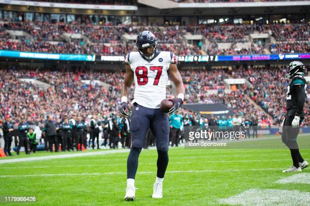 Houston Texans Tight End Darren Fells scores a touchdown during the NFL game between the Houston Texans and the Jacksonville Jaguars on November 03...