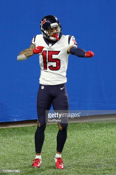 Houston Texans wide receiver Will Fuller celebrates after making a touchdown during the second half of an NFL football game between the Houston...