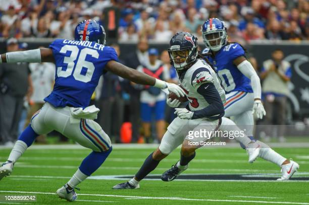 Houston Texans Wide Receiver Will Fuller V cuts to the outside after a second half reception as New York Giants Safety Sean Chandler defends during...