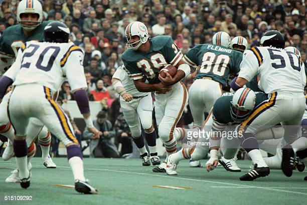 Houston Texas Miami's Larry Csonka picks up 16yards and a 1st down during 1st quarter action in the Super Bowl Csonka broke two Super Bowl records by...