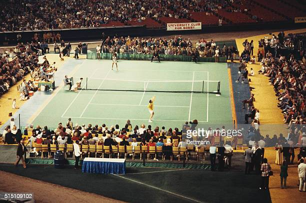 General view of the muchhyped tennis match in the Astrodome between Bobby Riggs and Billie Jean King dubbed 'The Battle of the Sexes'