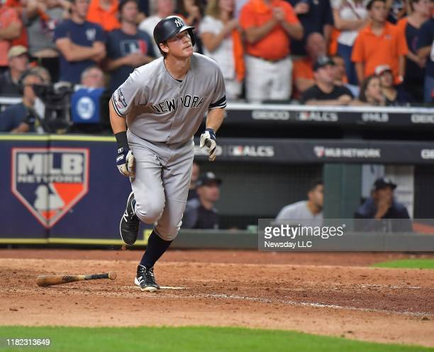 New York Yankees second baseman DJ LeMahieu hits a home run in the ninth inning to tie the game in Game 6 of the ALCS against Houston Astros on...