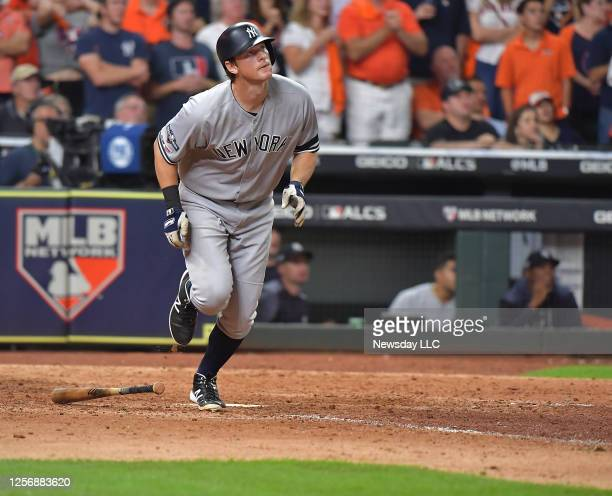 New York Yankees second baseman DJ LeMahieu smacks a homer in the ninth inning to tie the game in Game 6 of the ALCS against Houston Astros on...