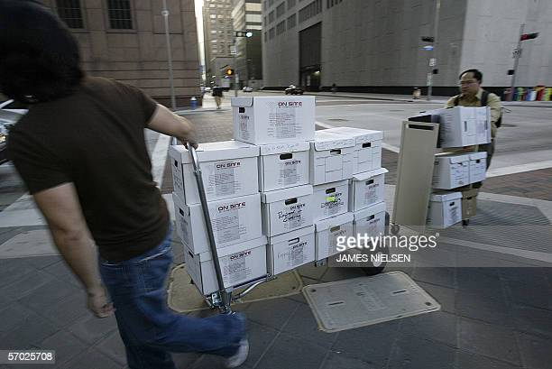 Boxes of files arrive from former Enron CEO Jeffrey Skilling's attorney Daniel Petrocelli's office to the Bob Casey Federal Courts Building in...