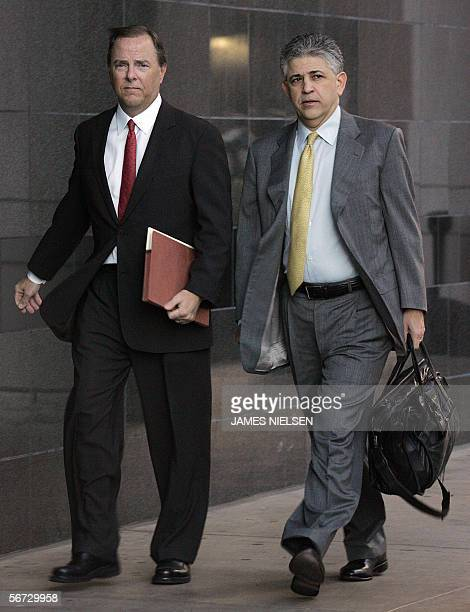 Former Enron CEO Jeffrey Skilling and his attorney Daniel Petrocelli arrive at the Bob Casey Federal Court House for day four of the Enron trial in...