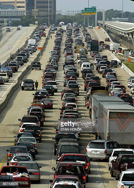 Vehicles jam the northbound lanes of I45 as the southbound lanes are empty 22 September 2005 in Houston Texas as people from south Texas evacuate in...