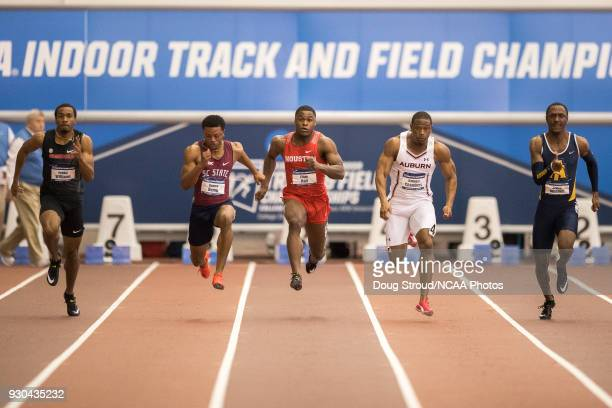Houston's Elijah Hall with a 652 time edges out Auburn's Raheem with 653 and South Carolina State's Demek Kemp with a 655 to take 1st in the Mens 60...