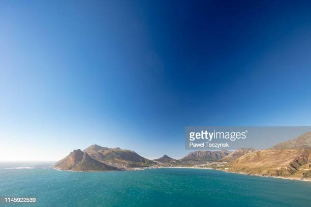 hout bay seen from the chapman's peak drive - one of the most spectacular drives in south africa, cape peninsula, south africa, november 22, 2018 - southern africa stock pictures, royalty-free photos & images