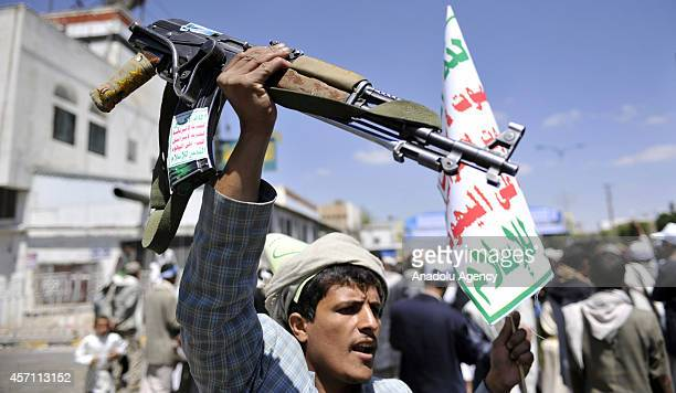 Houthi celebrates Shiite Muslims' Eid alGhadeer holiday in Sanaa Yemen on 12 October 2014 This is the first time for Houthis to hold an elaborate...
