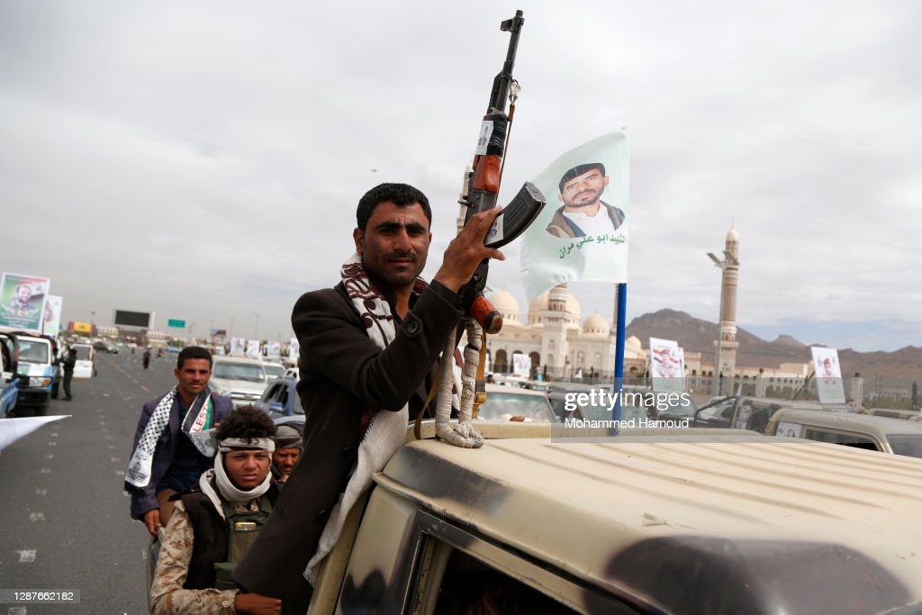 Yemen Houthi Fighters Funeral Procession In Yemen 2020 : Nieuwsfoto's