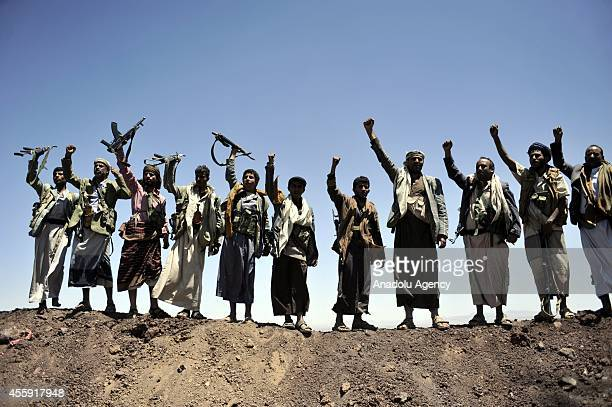 Houthi militants after they captured the headquarters of the Sixth Military Zone following rough clashes with Yemeni government forces in northern...