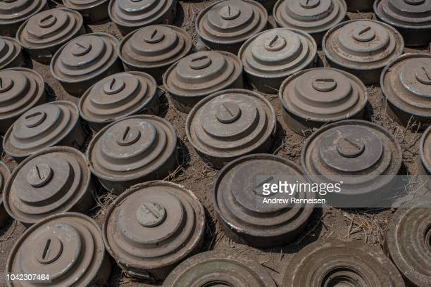 Houthi rebel landmines recovered by the Tariq Salah Forces a militia aligned with Yemen's Saudiled coalitionbacked government at an outpost a few...