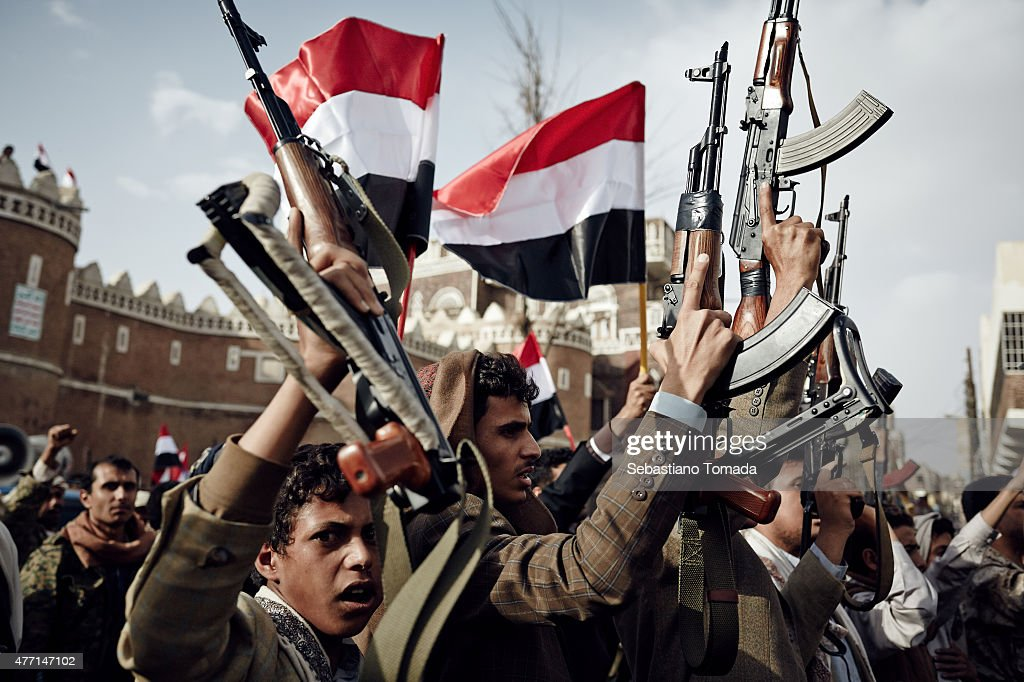 Protest Against Saudi Air Strikes in Sanaa Yemen : News Photo