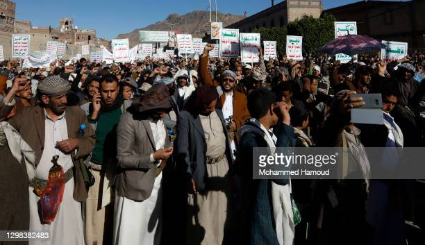 Houthi supporters gather during a protest against the decision by the Trump administration to designate the Houthi group a foreign terrorist...