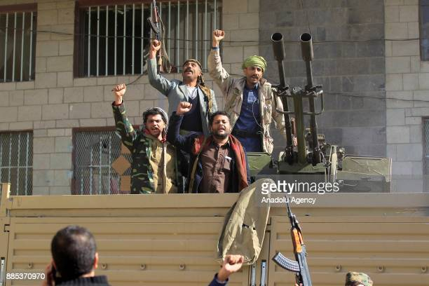 Houthis capture military vehicles of Former Yemeni President Ali Abdullah Saleh' supporters at Former Yemeni President Ali Abdullah Saleh's...