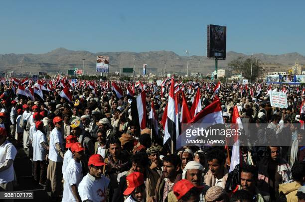 Houthis gather to protest the Saudiled operations during a rally on the third anniversary of the Operation Decisive Storm at alSabin Square in Sanaa...