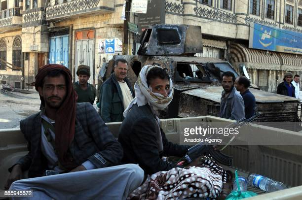Houthis patrol around after clashes between Houthis and Former Yemeni President Ali Abdullah Saleh's supporters in Sanaa, Yemen on December 5, 2017....