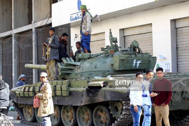 Houthis take security measures as they build up checkpoints and place tanks at Former Yemeni President Ali Abdullah Saleh's residential building in...