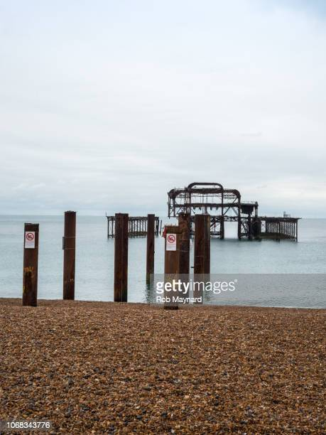 hove pier, east sussex - ammunition magazine stock photos and pictures