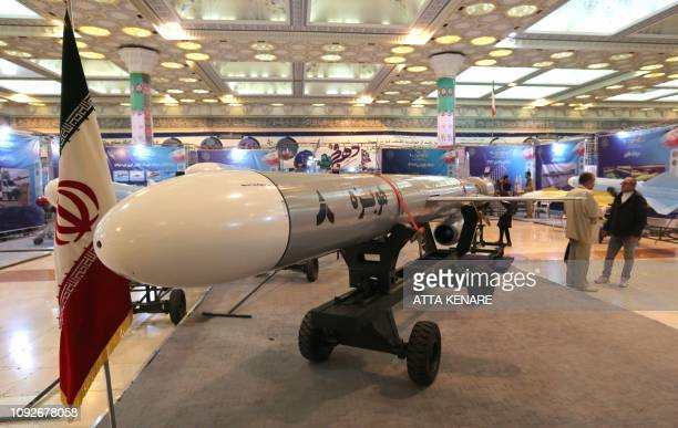 Hoveizeh Iran's new cruise missile is shown during an exhibition in the capital Tehran on February 2 2019 Iran announced the succesful test of a new...