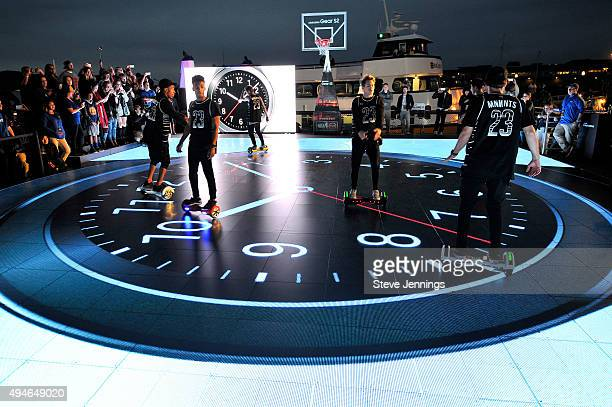 A hoverboard dance crew performs on the Samsung LED Court at NBA Opening Night 2015 at Pier 43 on October 27 2015 in San Francisco California