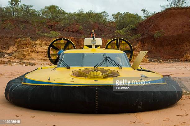 hovercraft parked on beach - hovering stock photos and pictures