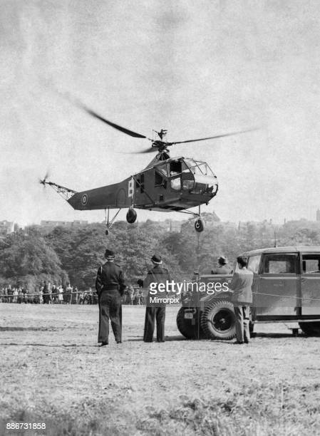 Hoverfly is the appropriate name given by the RAF to the Sikorsky R4 helicopter seen here being demonstrated to the general public 16th October 1946