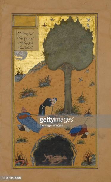 How a Braggart was Drowned in a Well, Folio 33v from a Haft Paikar of the Khamsa of Nizami, circa 1430. Artist Maulana Azhar.