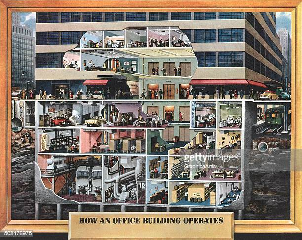 How an Office Building Operates' a vintage illustration and cutaway view of an urban office building showing office workers conference rooms...