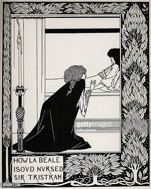 'How beautiful Isolde cared sire Tristan' drawing by Aubrey Beardsley illustrating 'Le Morte d'Arthur' by Thomas Malory circa 1893