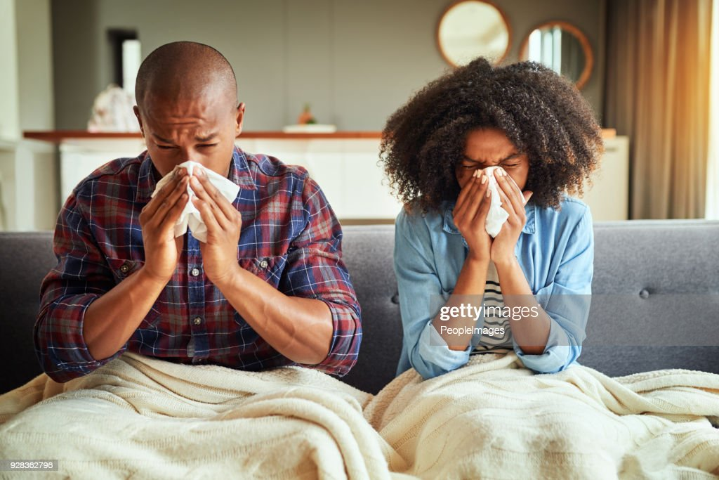 How did we both get sick? : Stock Photo
