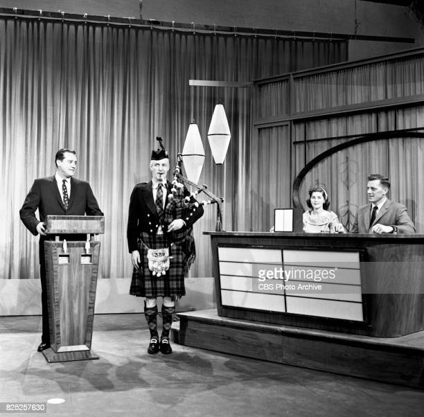 How Do You Rate the CBS television game show with host Tom Reddy and William J Wilson bagpipe player New York NY April 17 1958