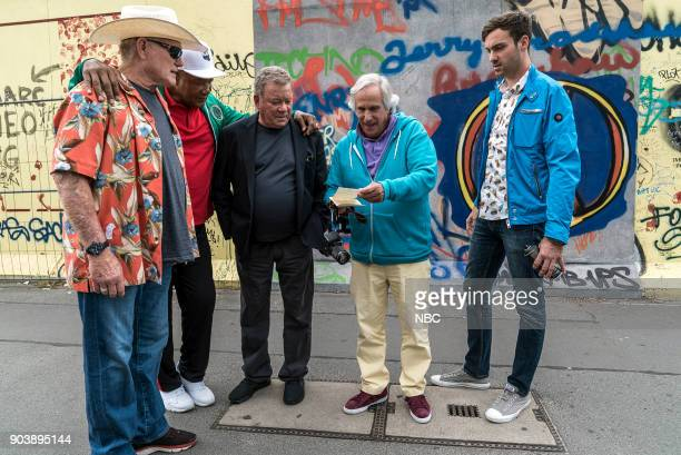 NEVER 'How Do You Say Roots in German' Episode 202 Pictured Terry Bradshaw George Foreman William Shatner Henry Winkler Jeff Dye