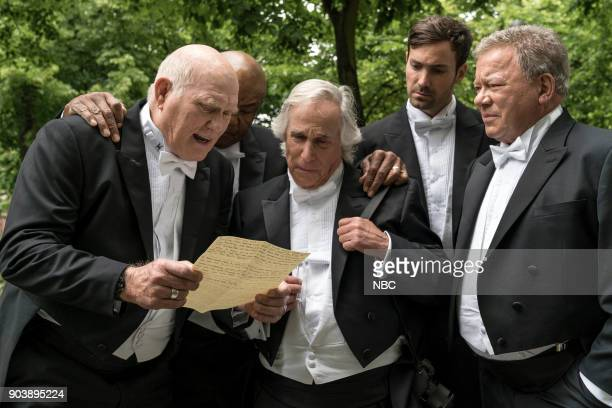 NEVER 'How Do You Say Roots in German' Episode 202 Pictured Terry Bradshaw George Foreman Henry Winkler Jeff Dye William Shatner