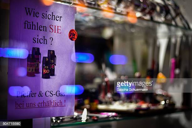 How safe do you feel Pepper and CS gas available from us reads a piece of paper at a store near the Hauptbahnhof main railway station where on New...