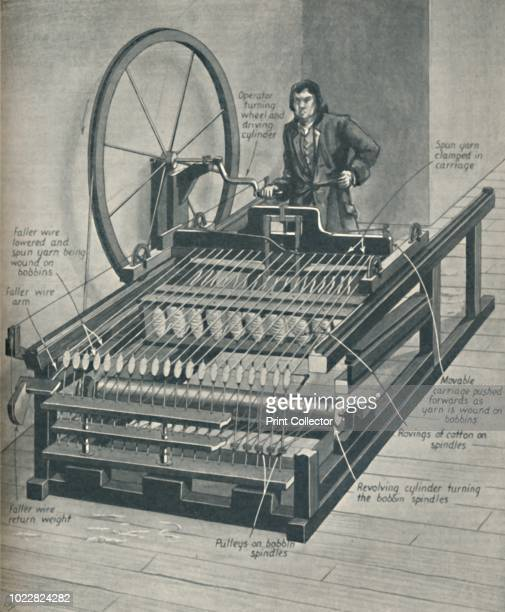How The Early Spinning Jenny Worked', circa 1934. Illustration showing the machine for spinning cotton, invented in 1764 by James Hargreaves. The...